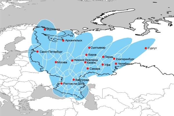 Карта покрытия спутника